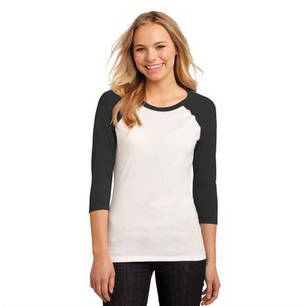 Personalized District® Juniors 50/50 3/4 Sleeve Raglan