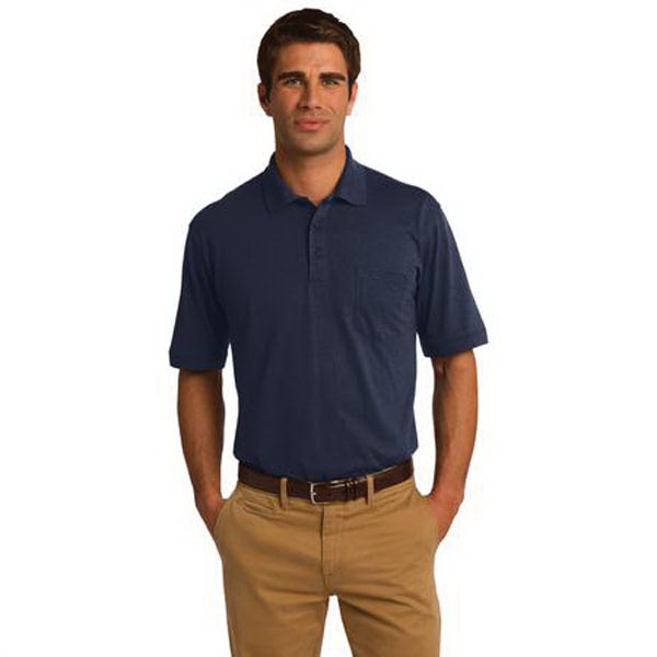 Imprinted Port & Company (R) 5.5 ounce Jersey Knit Pocket Polo