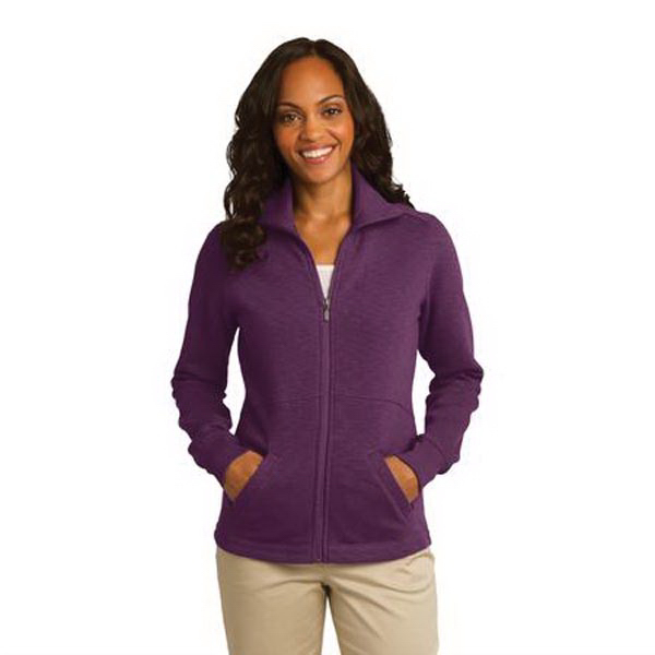 Customized Port Authority® ladies' slub fleece full zip jacket