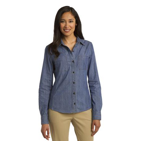 Imprinted Port Authority - Ladies' Denim Shirt with Patch Pockets