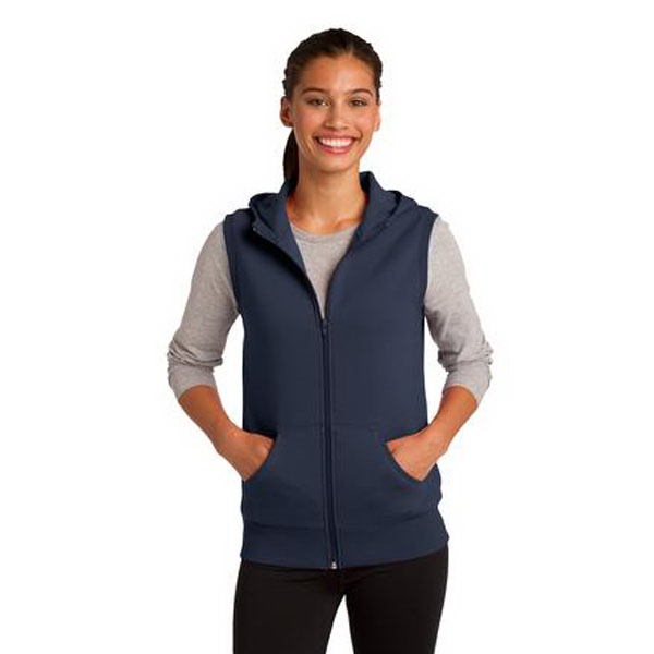 Imprinted Sport-Tek® ladies' hooded fleece vest