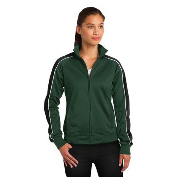 Printed Sport-Tek® ladies' piped tricot track jacket