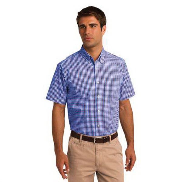 Custom Port Authority (R) short sleeve gingham easy care shirt