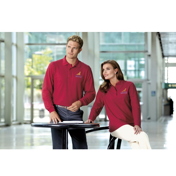 Imprinted Port Authority® Silk Touch long sleeve polo