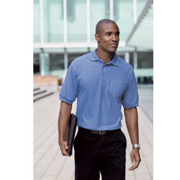 Printed Port Authority® Silk Touch (TM) sport shirt with pocket