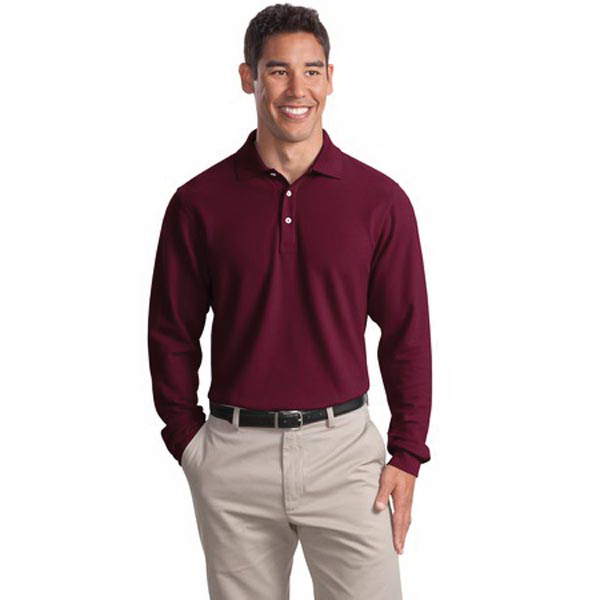 Custom Port Authority® long sleeve EZCotton pique sport shirt