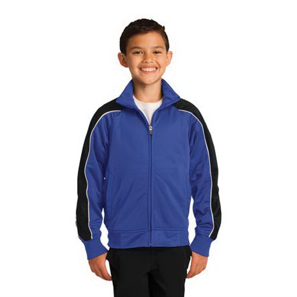 Printed Sport-Tek® youth piped tricot track jacket