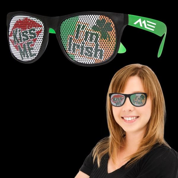 Imprinted Kiss Me I'm Irish Neon Green Billboard Sunglasses
