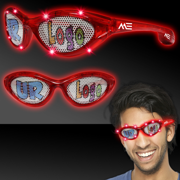 Personalized Red Custom LED Billboard Sunglasses
