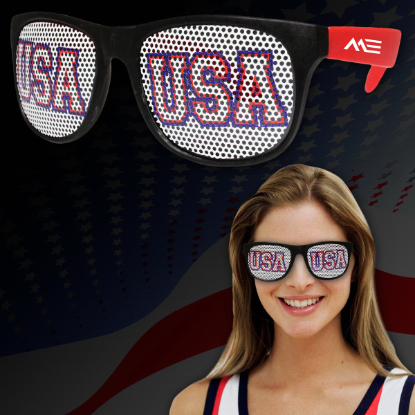 Imprinted USA Red Neon Billboard Sunglasses
