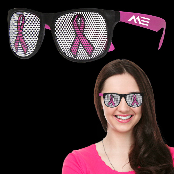 Imprinted Pink Ribbon Neon Pink Billboard Sunglasses