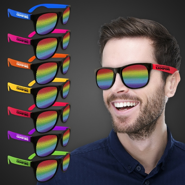 Printed Rainbow Neon Green Billboard Sunglasses