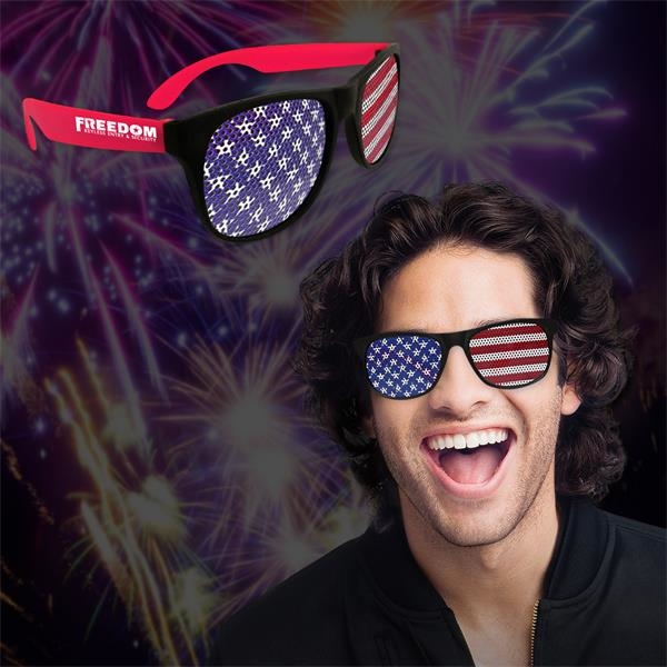 Printed American Flag Neon Red Billboard Sunglasses