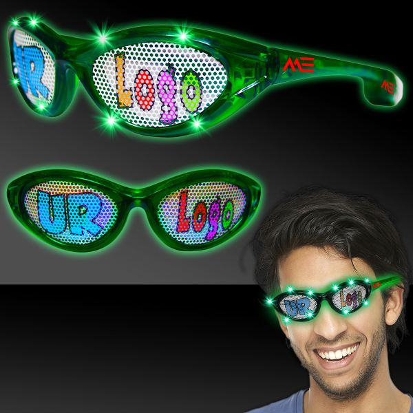 Printed Green Custom LED Billboard Sunglasses