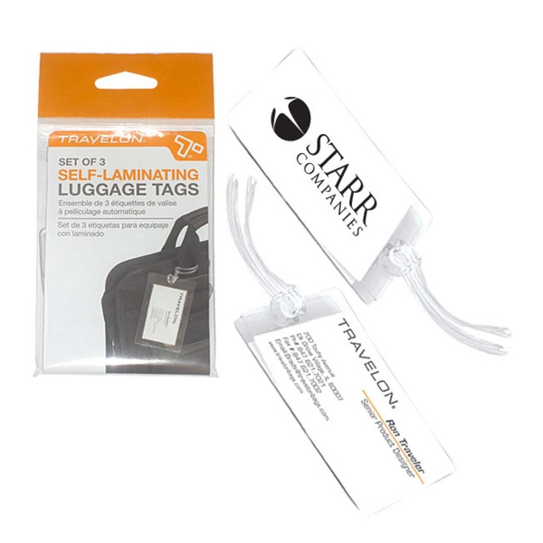 Customized Travelon (R) set of 3 self-laminating luggage tags