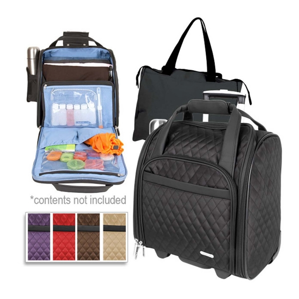 Printed Travelon (R) wheeled underseat carry-on with back-up bag