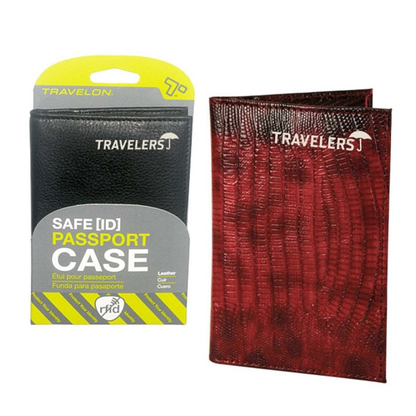 Printed Travelon (R) safe ID leather passport case