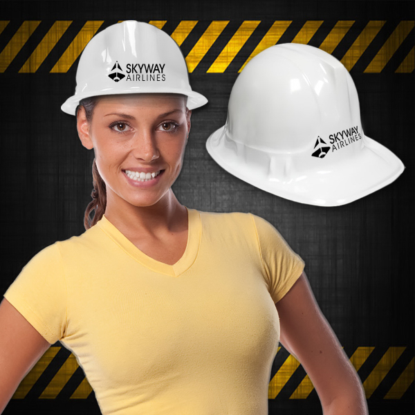 Promotional White Plastic Novelty Construction Hat
