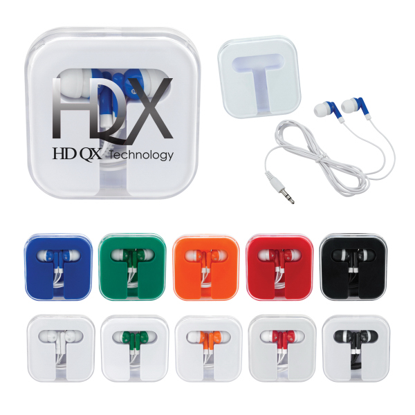 Customized Ear Buds in Square Case