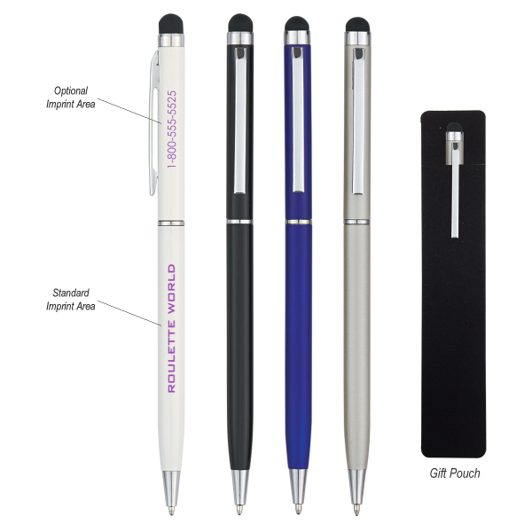 Customized Newport Ballpoint Pen with Stylus