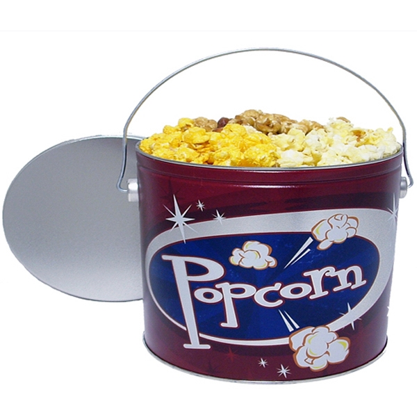 Promotional 3-way Popcorn in  1/2 Gallon Designer Tin