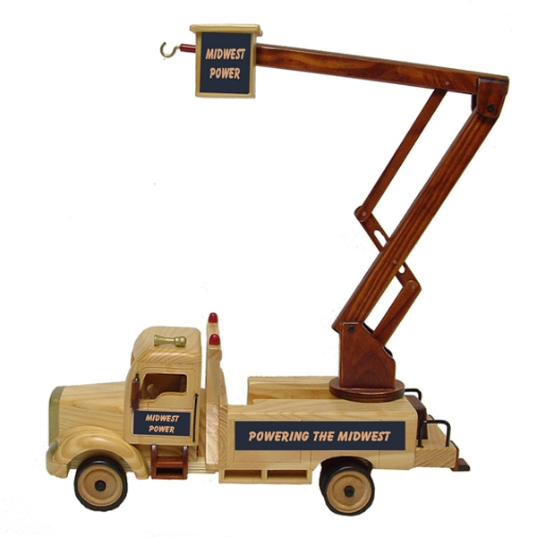 Printed Wooden Collectible Lift Bucket Truck - Empty