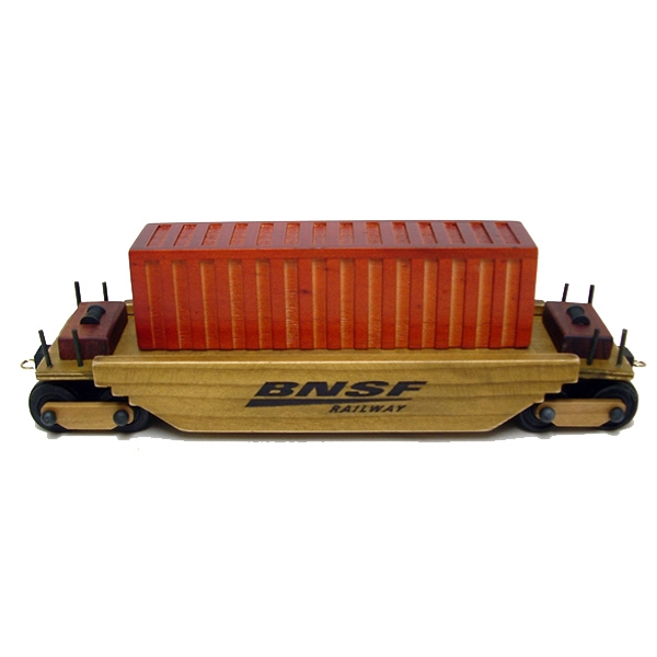 Imprinted Wooden Collectible Train Intermodal Car - Empty