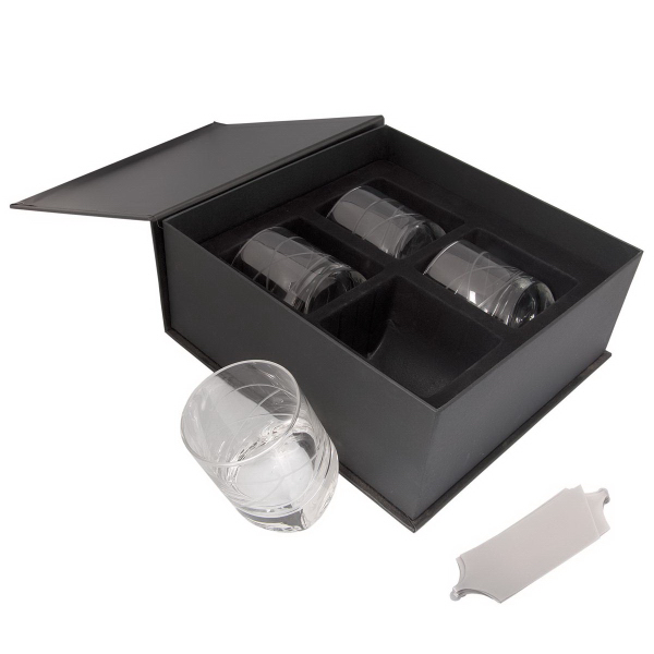 Printed Black Label Tilted Glasses Gift Set