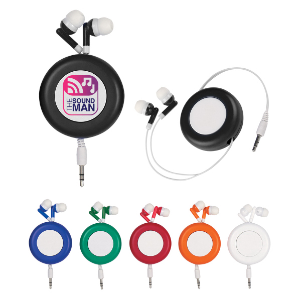 Imprinted Retractable Ear Buds