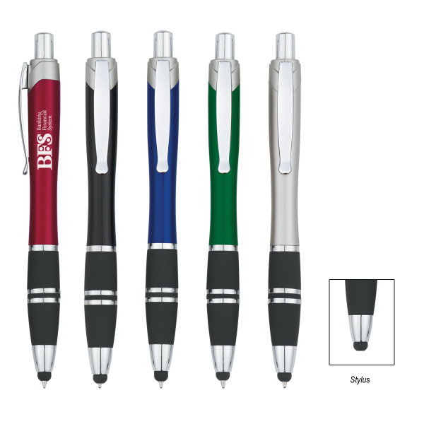 Imprinted Tri-Band Pen with Stylus