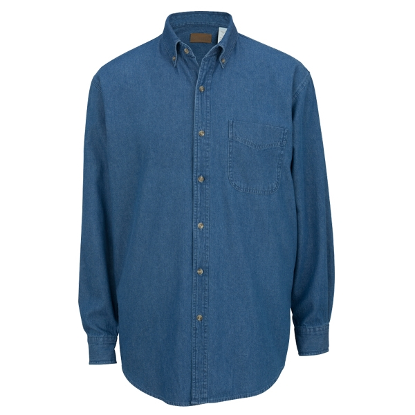Custom Men's Mid-Weight Long Sleeve Denim Shirt