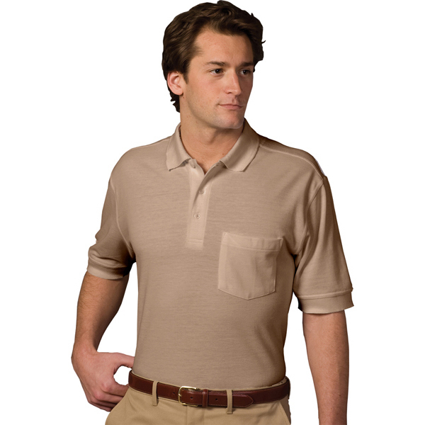 Printed Soft Touch Short Sleeve Pique Polo with Pocket