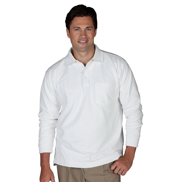 Printed Unisex Long Sleeve Pique Polo with Pockets