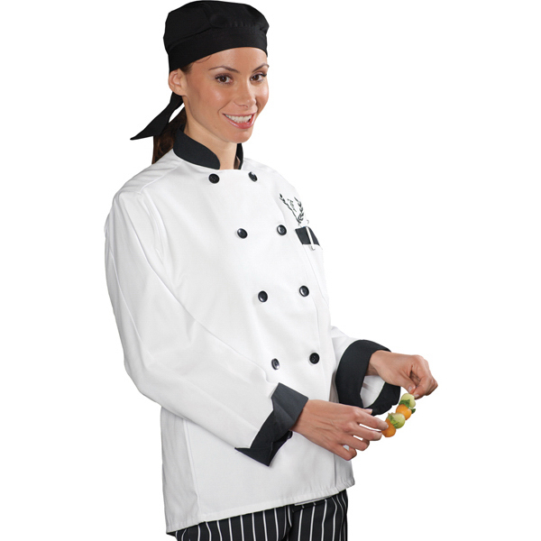 Custom Classic 10 Black Button Chef Coat with Black Trim