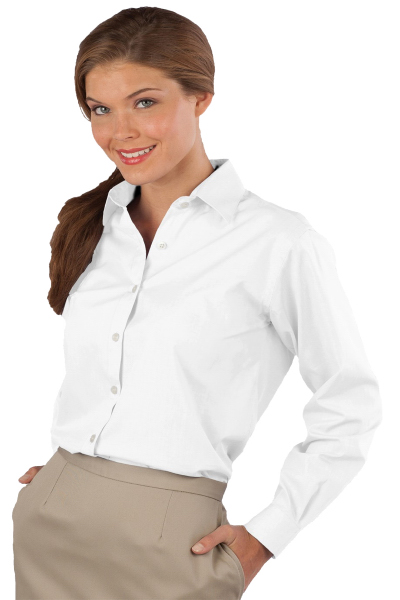 Personalized Women's Long Sleeve Pinpoint Oxford Shirt