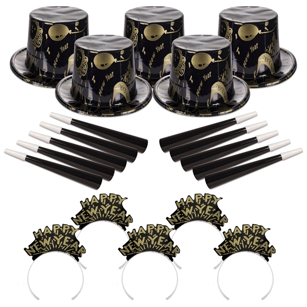 Printed Ebony and Gold New Year's Eve Party Kit for 50