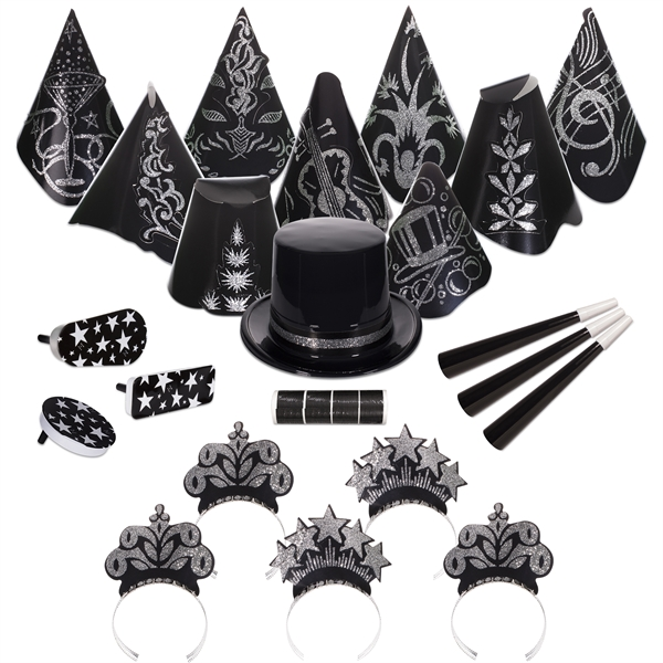 Personalized Gatsby Black and Silver New Year's Eve Party Kit