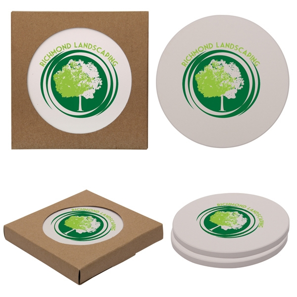 Personalized Round Absorbent Stone Coaster Duo