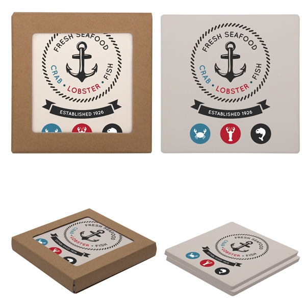 Customized Square Absorbent Stone Coaster Duo