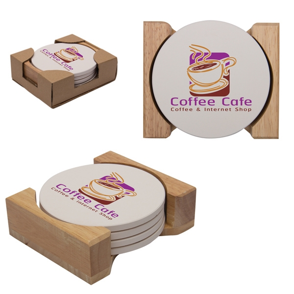 Printed Round Absorbent Stone Coaster Set