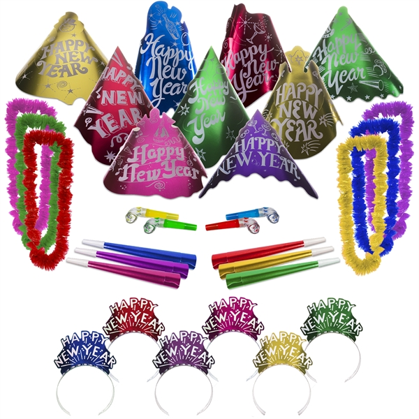 Promotional Happy New Year Metallic Cabaret Party Kit for 50