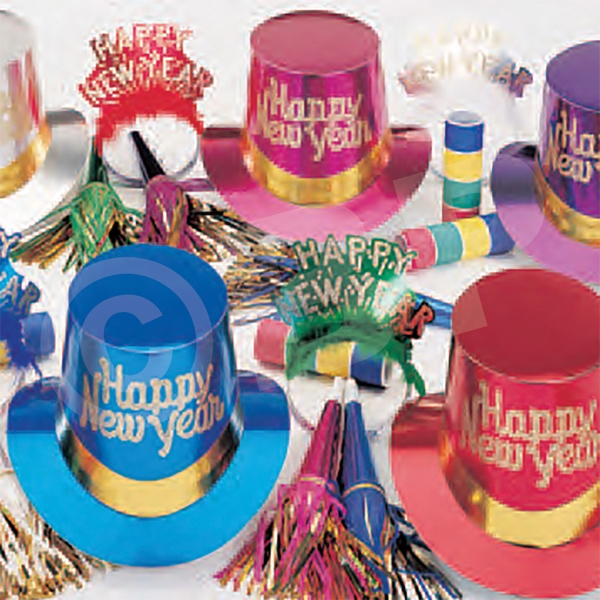 Imprinted Golden Touch New Year's Party Kit for 50