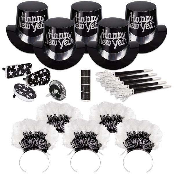 Promotional Grand Silver New Year's Eve Party Kit for 50