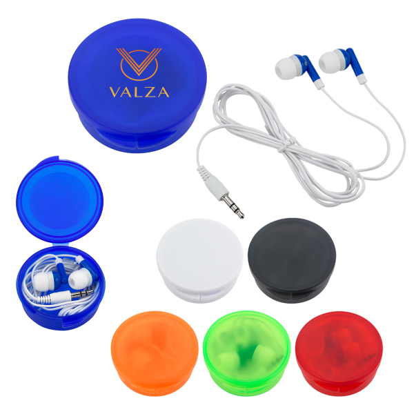 Printed Ear Buds in Round Plastic Case