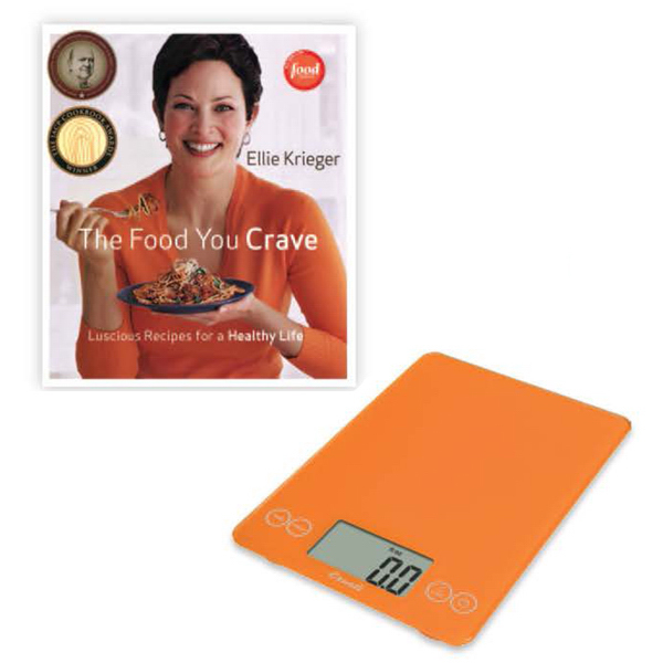 Personalized Arti Glass Digital Scale Overly Orange and Cookbook