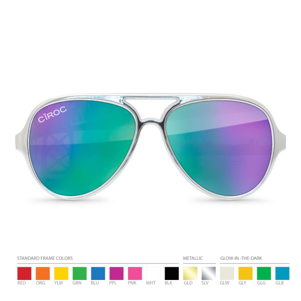 Personalized Cool Tone Mirror Aviator Sunglasses with Silk Lens Imprint