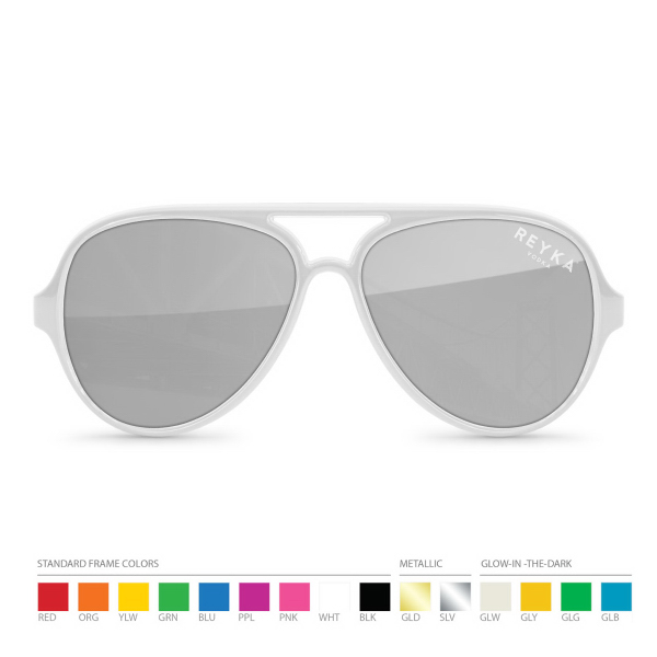 Promotional Silver Mirror Aviator Sunglasses with Silk Lens Imprint