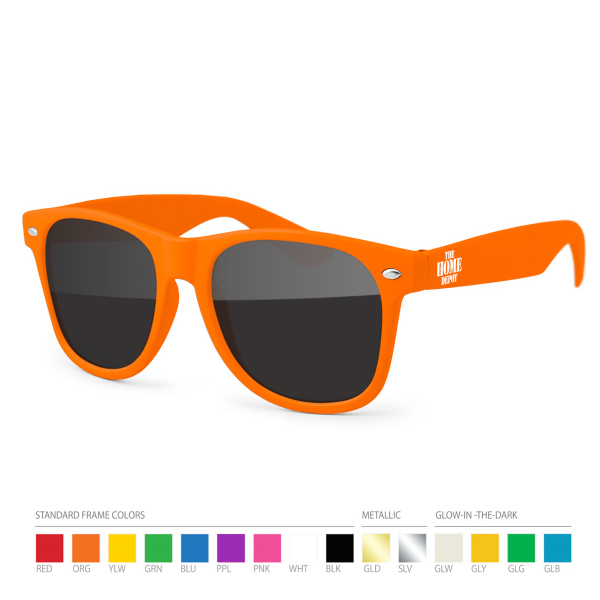 Printed Orange Wayfarer Sunglasses with Side Imprint, no setups!