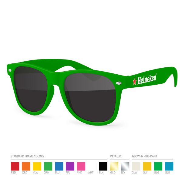 Promotional PMS match Wayfarer Sunglasses with Side Imprint, no setups!