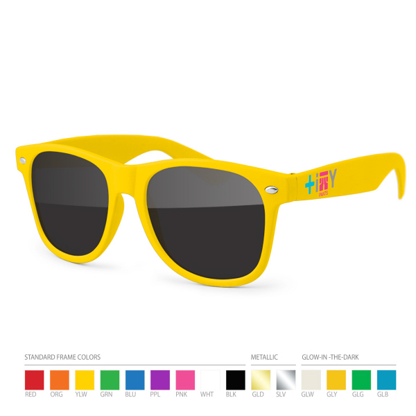 Imprinted Yellow Wayfarer Sunglasses with Side Imprint, no setups!